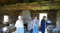 Visitors to the log cabin