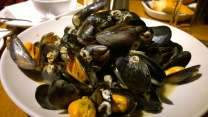 Yummy mussels in white wine garlic cream
