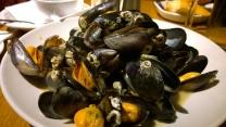 Yummy mussels in white wine garlic cream
