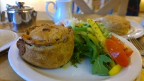 Cheese and Onion pie with salad