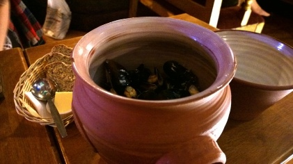 A huge crock of mussels.