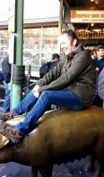 Riding the pig at Pike Place Market