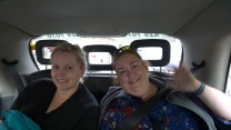 Ginger and I in the taxi